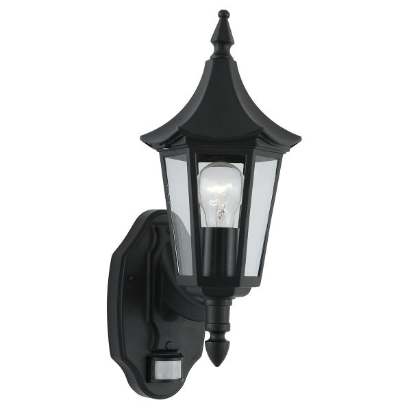 Bel Aire Black Exterior Wall Light With PIR